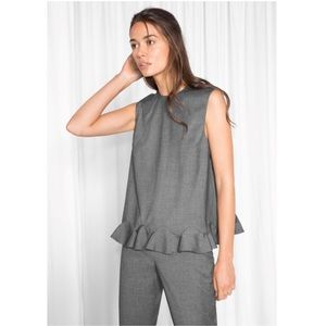 NEW & Other Stories Dark Gray Frill Blouse Tank